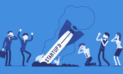 Startup rocket crash. Unplanned loss and fail, management mistakes and problems, first bad experience of young workers. Business style vector concept illustration